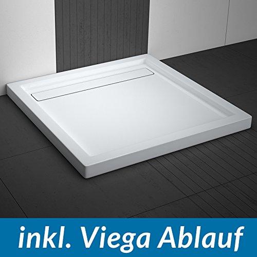 AQUABAD® Duschwanne Comfort Linea Flat 90x90cm Quadrat inkl. Viega Domoplex Ablauf waagerecht