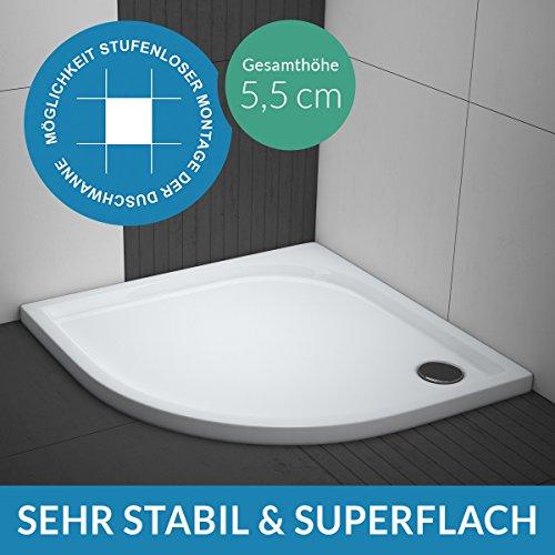 AQUABAD® Duschwanne Comfort Praktica 80x80cm Viertelkreis R55