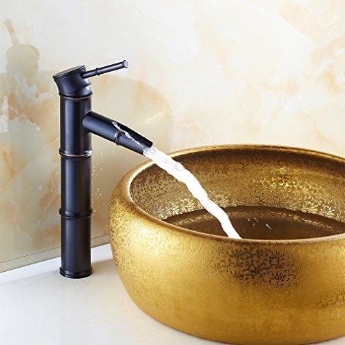 Auralum® Elegant Schwarz Bambus Form Hoch Mischbatterie Wasserhahn Armatur Waschtischarmatur Einhandmischer für Bad Waschbecken