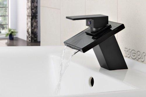 Design Wasserfall Bad Einhebel Armatur schwarzes Glas + Matt Schwarz