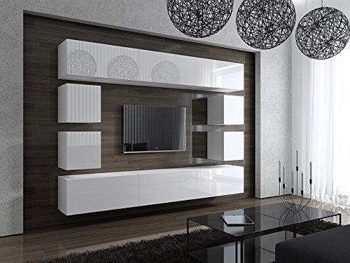 FUTURE 17 Moderne Wohnwand, Exklusive Mediamöbel, TV-Schrank, Neue Garnitur, Große Farbauswahl (Weiß MAT base / Weiß HG front)