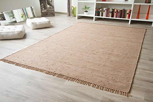 Handweb Teppich Freiberg in Schlamm aus 100% Baumwolle, Größe: 120x170 cm
