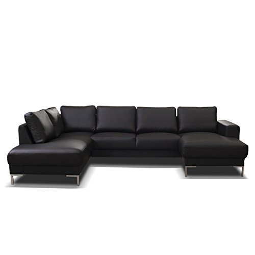 hikenn aktuelles design kunstleder ecksofa couch. Black Bedroom Furniture Sets. Home Design Ideas