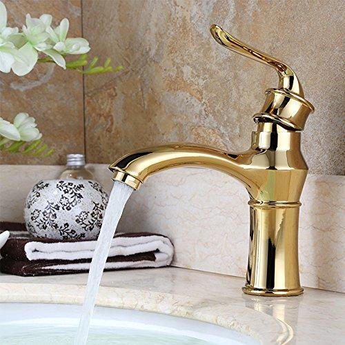 Homelody Retro Vergoldet Wasserhahn bad Waschtisch Waschbecken Armatur Einhebelmischer Waschtischarmatur Waschbeckenarmatur Badarmatur für Bad