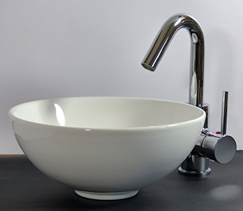 kleines keramik aufsatz waschbecken rund 28cm g ste bad m bel24. Black Bedroom Furniture Sets. Home Design Ideas