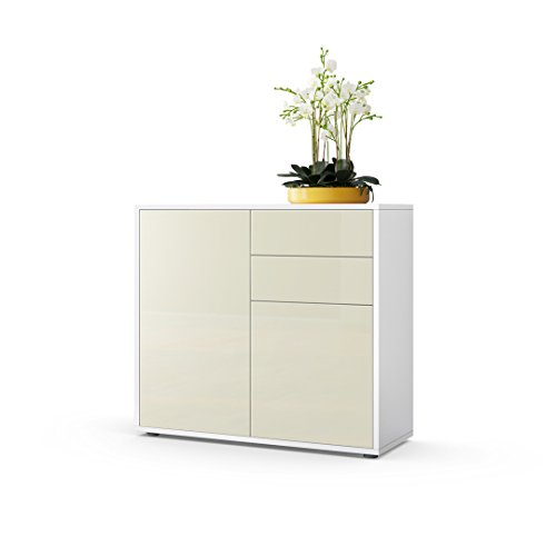 kommode sideboard ben korpus in wei matt fronten in creme hochglanz m bel24. Black Bedroom Furniture Sets. Home Design Ideas