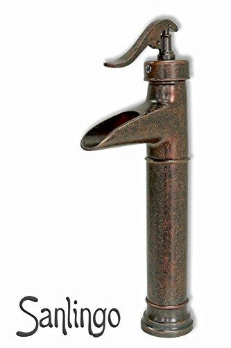 Nostalgie Retro Bad Waschbecken Waschschale Einhebel Armatur Wasserhahn Rot Bronze Schwarz Gesprenkelt Sanlingo