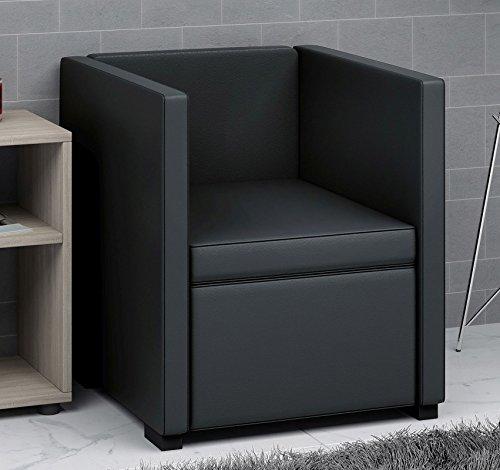 VCM 911710 Sessel, Lederimitat, schwarz, 56 x 60 x 64 cm