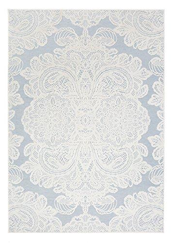 Vallila CM000801-07 Aleksandra Gewebt Teppich, Chenille, Baumwolle, aqua blau, 140 x 200 cm