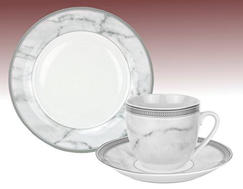 Van Well Kaffeeservice ROMA, 18-tlg. für 6 Personen, Kaffeetasse + Untertasse + Kuchenteller, edles Markenporzellan, Designer-Geschirr im Marmor-Look mit Ringen, grau