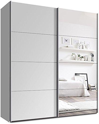 webesto schwebetrenschrank kleiderschrank ca 200 cm wei mit spiegel qualitt aus deutschland 0. Black Bedroom Furniture Sets. Home Design Ideas