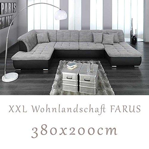 Wohnlandschaft couchgarnitur xxl sofa u form schwarz for Wohnlandschaft xxl grau