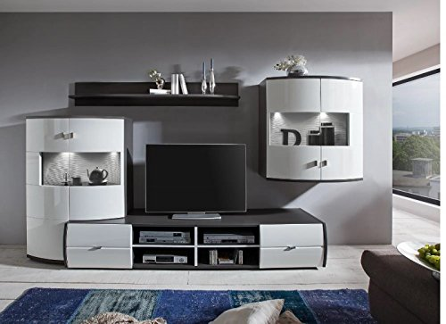 wohnwand 39 circle 2 39 hochglanz lackiert wei grau vormontiert m bel24. Black Bedroom Furniture Sets. Home Design Ideas