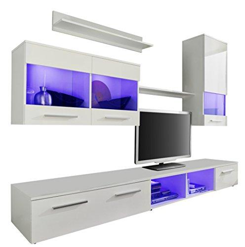 trendteam 1563 001 01 wohnwand wei glanz bxhxt 250x180x44 cm 0 m bel24. Black Bedroom Furniture Sets. Home Design Ideas