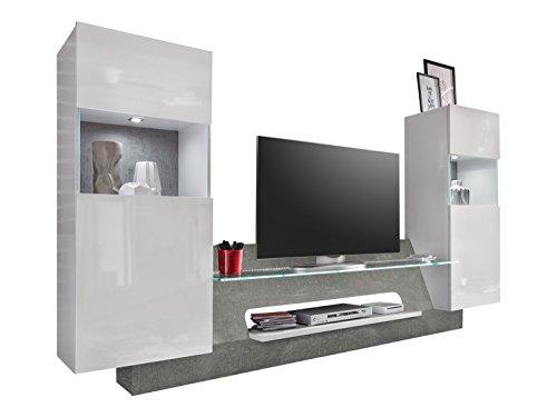 trendteam ar00235 wohnwand tv m bel wei glanz absetzung grau beton nachbildung bxhxt. Black Bedroom Furniture Sets. Home Design Ideas