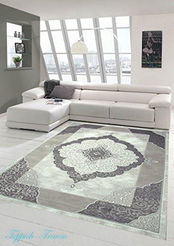 Designer Teppich Moderner Teppich Wohnzimmer Teppich mit Muster Grau Cream Beige