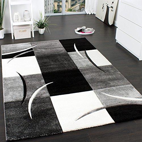designer teppich mit konturenschnitt muster kariert in schwarz weiss grau m bel24. Black Bedroom Furniture Sets. Home Design Ideas