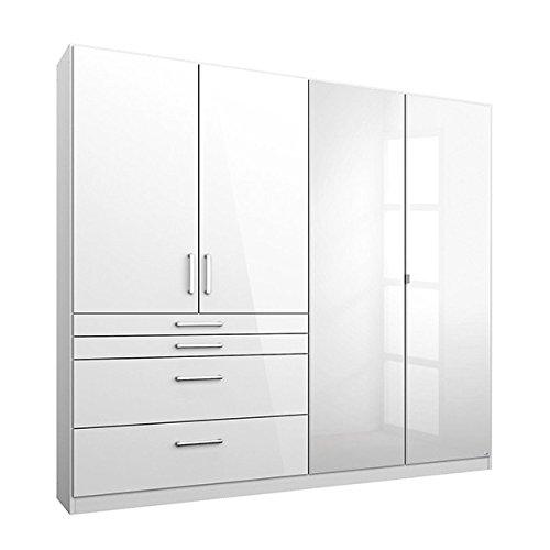kleiderschrank 4 t ren b 181 cm hochglanz wei schrank dreht renschrank w scheschrank. Black Bedroom Furniture Sets. Home Design Ideas