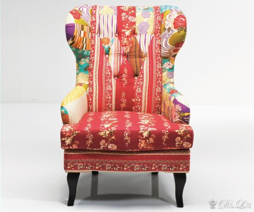 Ohrensessel Patchwork Red Bunt Lounge Sessel by Kare