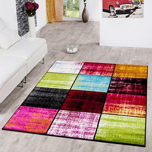 Teppich Karo Rot Schwarz Grau Grün Pink Meliert Modern Wohnzimmer Kinderzimmer