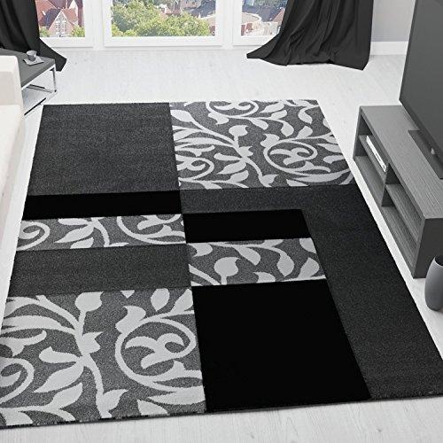 vimoda cascadapl6089 moderner designer teppich mit blumenmuster kariert konturenschnitt geprft. Black Bedroom Furniture Sets. Home Design Ideas
