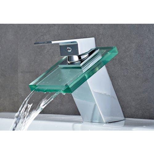 Auralum® Chrom Glas Wasserhahn Waschtisch Waschtischarmatur Armatur für Bad Wasserbecken Spüle