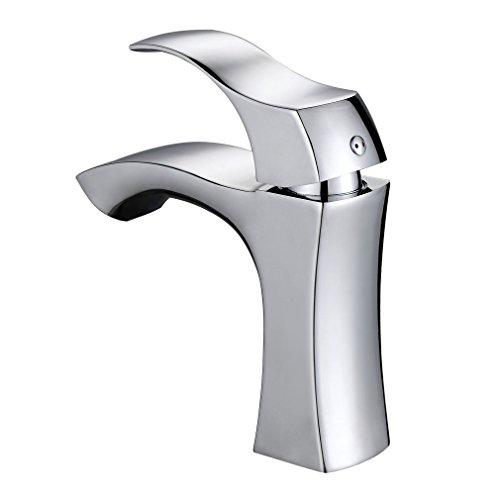 Auralum® Elegant Hochwertig Einhebel- Mischbatterie Verchromt Wasserhahn Armatur Waschtischarmatur Wasserfall Einhandmischer für Bad Waschbecken