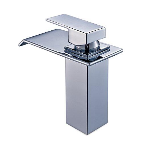 Auralum® Elegant Zeitgenosse Einhebel Wasserhahn Armatur Waschtischarmatur Mischbatterie Wasserfall Einhandmischer für Küche Badenzimmer Bad