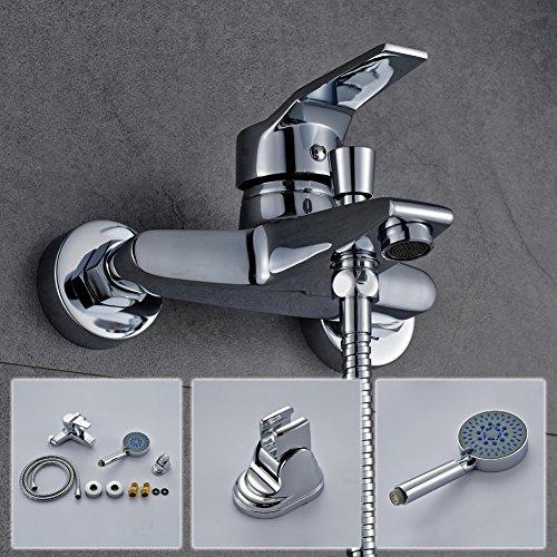 Auralum® Elegant Zeitgenössische Armatur Wasserfall Badewanne Wasserhahn inkl. Wandhalterung mit Handbrause für Bad Badezimmer