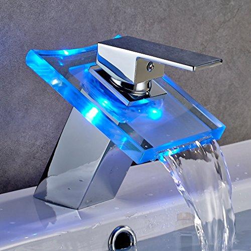 Auralum Glas Wasserhahn Waschbecken Armatur Waschtischarmatur LED RGB Licht und Modell Wählbar