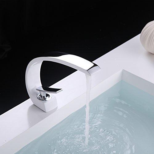 Fapully Wasserhahn Bad Weiß Chrom Mischbatterie Waschbecken Waschtischarmatur Mischbatterie Badarmatur für Badezimmer