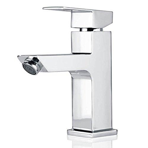 Homelody Chrom Wasserhahn Badezimmer Waschtisch Armatur Mischbatterie Waschbecken Waschtischarmatur eckig Waschbeckenarmatur Badarmatur Bad