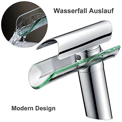 Homelody Badarmatur mit Glasauslauf Wasserfall Wasserhahn Bad Armatur Mischbatterie Einhebelmischer Waschtischarmatur und Waschbeckenarmatur für Badezimmer