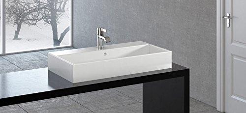 Keramik - Waschbecken / Aufsatzwaschtisch 80 x 42 cm weiß mit 1 Hahnloch, mit BEST CLEAN Beschichtung