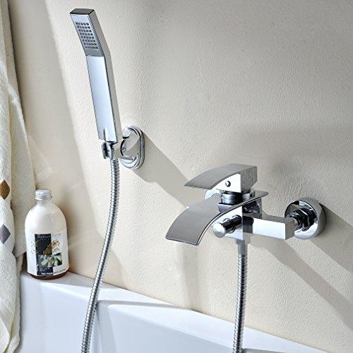 Kinse® Elegant Chrom Duschsystem Duschset Brauseset Inkl. Wasserhahn + Duschkopf Handbrause Wandhalterung