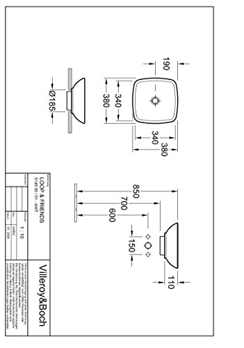 Villeroy & Boch Aufsatzwaschtisch Loop & Friends 514900 380x380mm Weiß Alpin, 51490001
