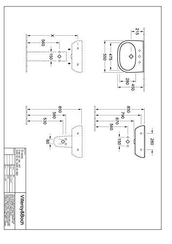 Villeroy & Boch Waschtisch O.novo 516056 550x450mm mittl Hl. durchgest o. Ül. weiß, 51605601