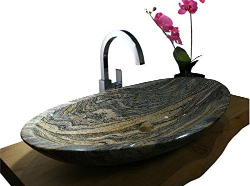 Waschbecken aus Naturstein, Granit, Model Monaco groß, Juparana, 80x43cm
