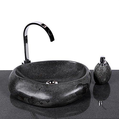 WOHNFREUDEN Naturstein Waschbecken Wave 40 cm aus Stein aussen poliert Aufsatzwaschbecken Findling für Waschtisch versandkostenfrei