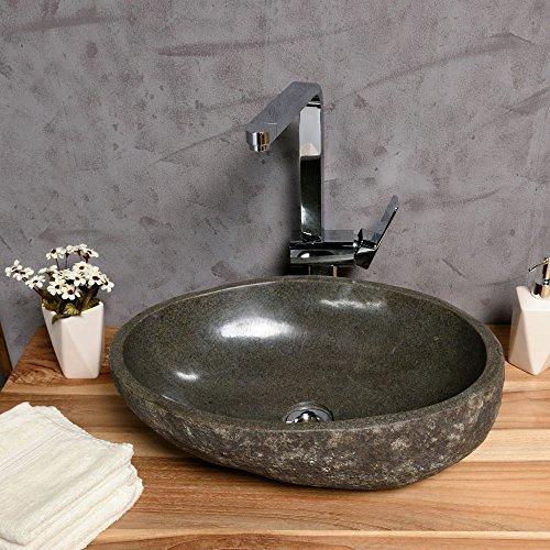 WOHNFREUDEN Naturstein Waschbecken 40 cm oval aussen natur ♥ einzeln geprüft und fotografiert ✓ Suchen Sie Ihr Waschbecken mit Größe und Farbe aus ✓ Stein Aufsatzwaschbecken für Bad WC