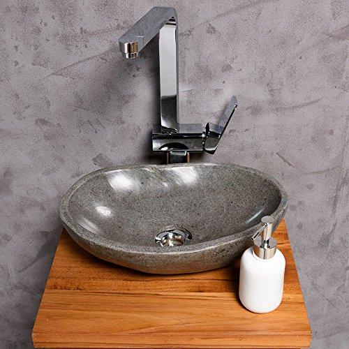 WOHNFREUDEN Naturstein Waschbecken 30 cm rund oval aussen natur ♥ einzeln geprüft und fotografiert ✓ Suchen Sie Ihr Waschbecken mit Größe und Farbe aus ✓ Stein Aufsatzwaschbecken für Bad WC