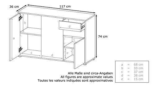 Kommode Sideboard Ben V3, Korpus in Schwarz matt / Fronten in Schwarz matt