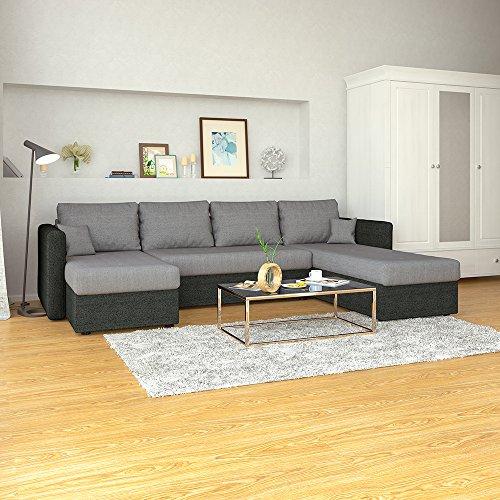 XXL Schlafsofa in Grau Schwarz - Stellmaß: 290 x 185 cm - Liegefläche: 270 x 140 cm - Sofa Couch Schlafcouch Ecksofa Eckcouch