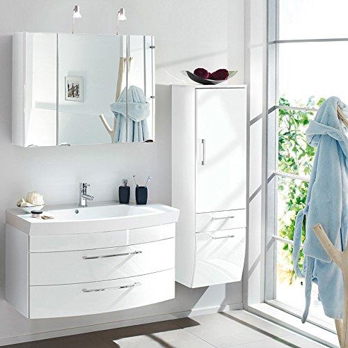 komplett badmbel set badezimmermbel hochglanz wei 100cm. Black Bedroom Furniture Sets. Home Design Ideas