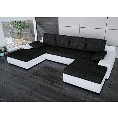 Sofa Polsterecke Linosa Weiß/ Strukturstoff Schwarz - Ecksofa von Jalano Wohnlandschaft U-Form Couch Schlafsofa mit Kissen