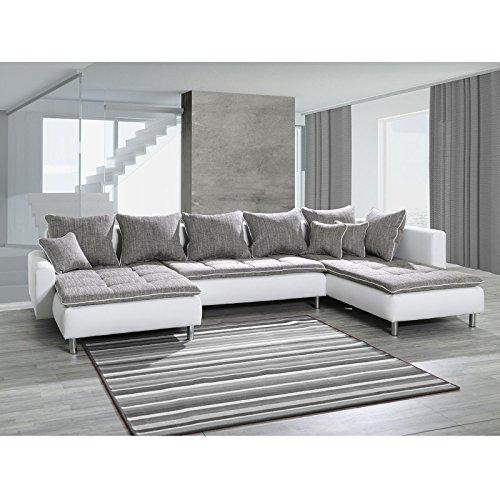 Sofa polsterecke vivara wei strukturstoff grau ecksofa von for Couch grau u form
