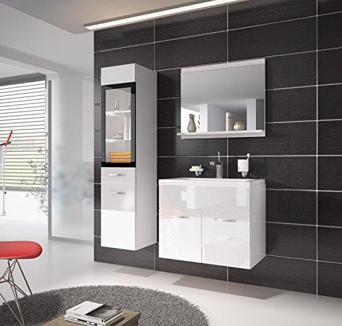 badezimmer badm bel rio led 60 cm waschbecken hochglanz wei fronten unterschrank hochschrank. Black Bedroom Furniture Sets. Home Design Ideas