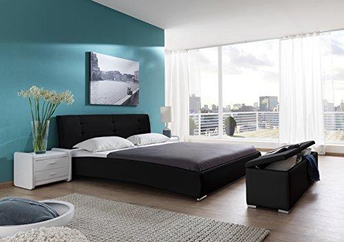 sam design polsterbett bastia 160 x 200 cm in schwarz kopfteil abgesteppt auch als wasserbett. Black Bedroom Furniture Sets. Home Design Ideas