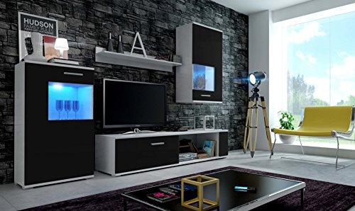 EVE Moderne Wohnwand, Exklusive Mediamöbel, TV-Schrank, Neue Garnitur, Große Farbauswahl (RGB LED-Beleuchtung Verfügbar) (Weiß Matt base/ Schwarz Matt front, RGB)