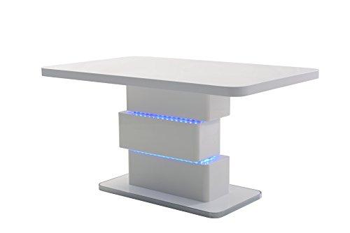 cavadore esszimmertisch slice moderner esstisch mit blauer led beleuchtung hochglanz wei. Black Bedroom Furniture Sets. Home Design Ideas